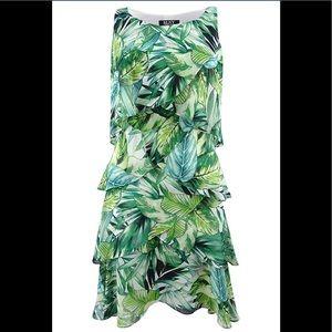 SL Fashions Printed Tiered Shift  Green Multi NWT